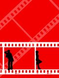 Film strip youth. Young people on film strip background Stock Photo