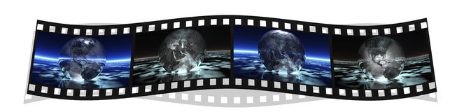 Film stripe with 4 images of the earth. Film with 4 images of the earth isolated on a white background Stock Photos