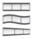 Film Strips. Three 35mm Film Strips In Different Shapes, White Background royalty free illustration