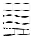 Film Strips. Three 35mm Film Strips In Different Shapes, White Background Stock Photos