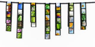 Film strips. With images hanging Stock Photo