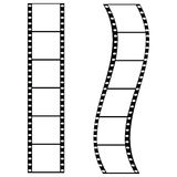 Film strips. Illustration of two strips of film: one straight and one curved Royalty Free Stock Photography