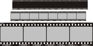 Film strips. Two film strips with black silhouette, isolated Royalty Free Stock Photo