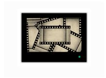 Film strips on abstract television screen Stock Photos
