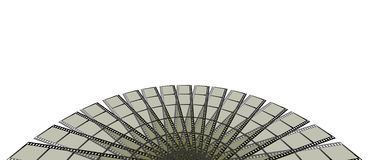 Film Strips Background. A background with an abstract view of a filmstrip formation in a semicircle, isolated on a white background Vector Illustration