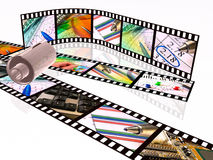 Film strips and cassette. 3d film roll with colour pictures (business Royalty Free Stock Images