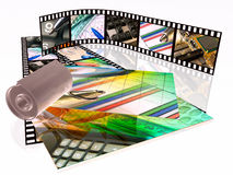 Film strips, cassette and photos. 3d film roll, cassette and photos with colour pictures Stock Images