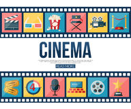 Film strips and cinema icons set for infographics Stock Photo