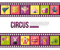 Film strips and circus entertainment  icons set Royalty Free Stock Images