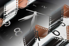 Film Strips and Clock. Composite of Film Strips and Clock Stock Image