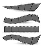 Film strips. Collection of film strips with shadows on a white background Royalty Free Stock Photo