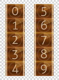 Film strips. Final countdown. Real color vector illustration. Transparent background. Stock Photography