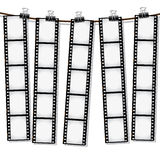 Film strips hanging out to dry. Part of my film collection Royalty Free Stock Photo
