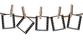 Film strips hanging out to dry. Part of my film collection Royalty Free Stock Photography
