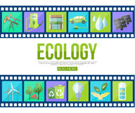 Film strips and set of colorful modern ecology. Icons with long shadow for infographics, presentation templates, web and mobile apps. Flat style design. Vector Royalty Free Stock Image
