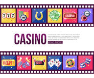 Film strips and set of colorful modern gambling. Icons, casino icons, money icons with long shadow for infographics, presentation templates, web and mobile apps Royalty Free Stock Photo