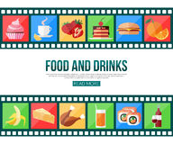 Film strips and set of flat food and drinks icons. For infographics, presentation templates, web and mobile apps. Vector illustration Royalty Free Stock Photo