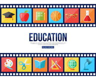 Film strips and set of flat school and education. Icons for infographics, presentation templates, web and mobile apps. Vector illustration Stock Photo