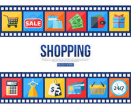 Film strips and set of sale and shopping icons for Royalty Free Stock Photos