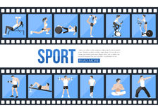 Film strips and training people icons set for Stock Images