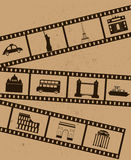 Film strips. Film strips with travel icons Stock Image