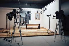 Film studio with cameras and movie equipment. Close up Stock Photography