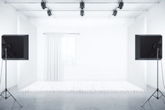 Film studio design. Film studio with room box and professional lighting equipment. 3D Rendering Stock Photos