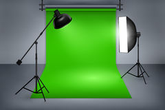 Film studio with green screen. Film or photo studio green screen. Interior with equipment, photography and flash spotlight. Vector illustration Royalty Free Stock Photography