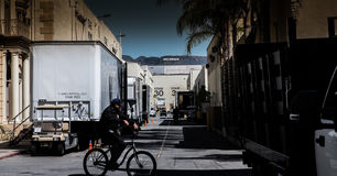 Film studios Paramount. Sees Paramount Film studios to ``Hollywood`` logo royalty free stock image