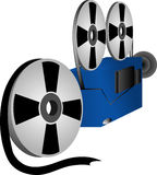 Film stuff. Illustration of a roll of film and a film projector Royalty Free Stock Photos