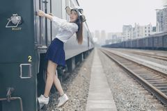 Beautiful Girl and Railway Background royalty free stock images