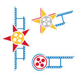 Film symbols. Set of pictograms with film and star Royalty Free Stock Photography