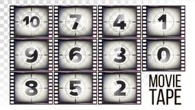 Film taśmy odliczanie wektor Monochromatyczny Brown Grunge filmu pasek Od Dziesięć, Zero Odizolowywający na przejrzystym tle ilustracja wektor