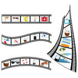 Film tape with beach items vector illustration. On a white Stock Image