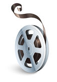 Film tape cinematography video movie disk isolated. For classic vintage cinema theatre. Vector illustration. On white background Royalty Free Stock Image