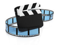 Film tape and clapper board. On white background. 3d rendering illustration Stock Photo
