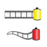 Film tape color vector illustration. In red and yellow Royalty Free Stock Images