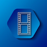 Film tape icon. Hexagon button with film tape icon over blue background. colorful design.  illustration Royalty Free Stock Photos