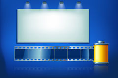 Film tape. Illustration of film tape with big board on blue background Stock Images