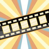 Film tape icon. Film tape over striped colorful background, vector illustration Stock Image