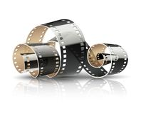 Film tape twisted reel for cinema movies Royalty Free Stock Photo