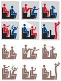 Film-Theater-Richtlinien-Ikonen-Set Lizenzfreie Stockbilder