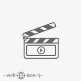 Film vector icon. On grey background Royalty Free Stock Photos