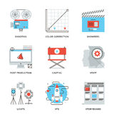 Film and video production line icons set. Thin line icons of video production process, professional movie postproduction, actors casting, storyboard writing Royalty Free Stock Photos