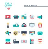 Film, video, shooting, editing and more, flat icons set. Vector illustration Stock Photography