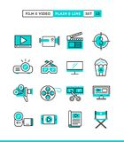 Film, video, shooting, editing and more. Plain and line icons se. T, flat design, vector illustration Royalty Free Stock Photos
