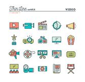 Film, video, shooting, editing and more, thin line color icons s. Et, vector illustration Stock Images