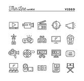 Film, video, shooting, editing and more, thin line icons set. Vector illustration Royalty Free Stock Image