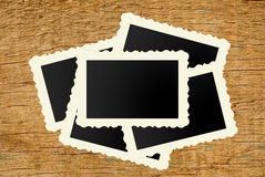 Film Vintage empty photo cards on wood Stock Image