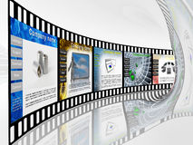 Film with web pages. On white reflective background Royalty Free Stock Image